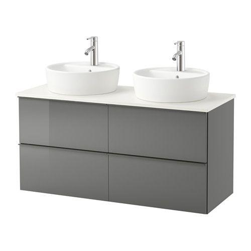 GODMORGON/ALDERN / TÖRNVIKEN Mobile/lavabo 45/piano bagno - lucido grigio, bianco - IKEA