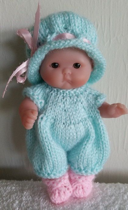Berenguer Baby Doll Knitting Pattern Romper and Hat Set fits