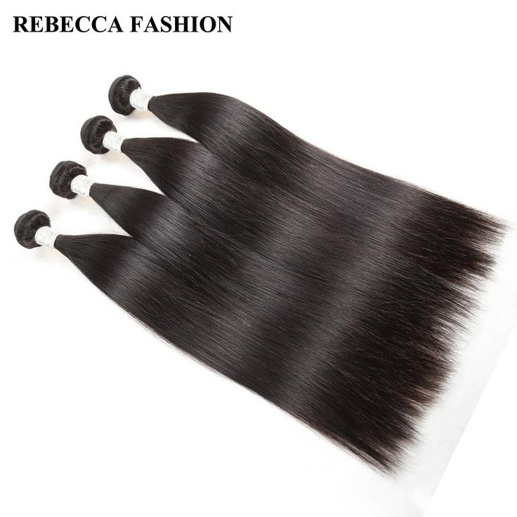 Rebecca Brazilian Straight Hair Weave 4 Bundles Remy Human Hair Bundles 400g Unprocessed Hair Extension Salon Bundles Hair Weft