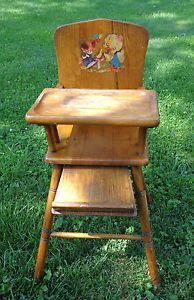 Lovely Antique Vintage High Chair Wood Wooden Full Size Bear And Duck Decal