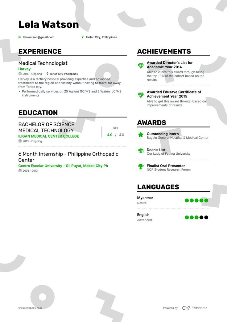 Medical Technologist Resume Example and guide for 2019