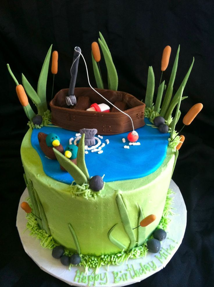 Small Gone Fishing Cake With Images Gone Fishing Cake Hunting