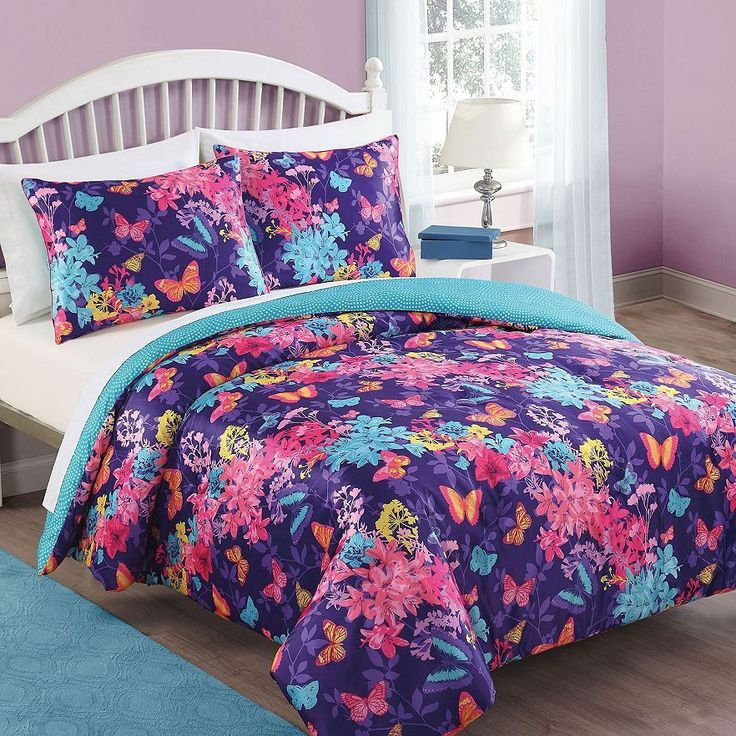 Bella Purple And Hot Pink Butterfly Bedding By Bedthreads Is The Perfect Teenage  Girl Bedding On A Deep Purple Color With Accenting Pink And Light Blue ...