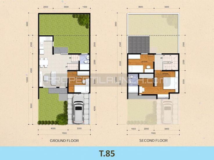 Tipe 85 denah rumah cluster Kireina Park BSD City.