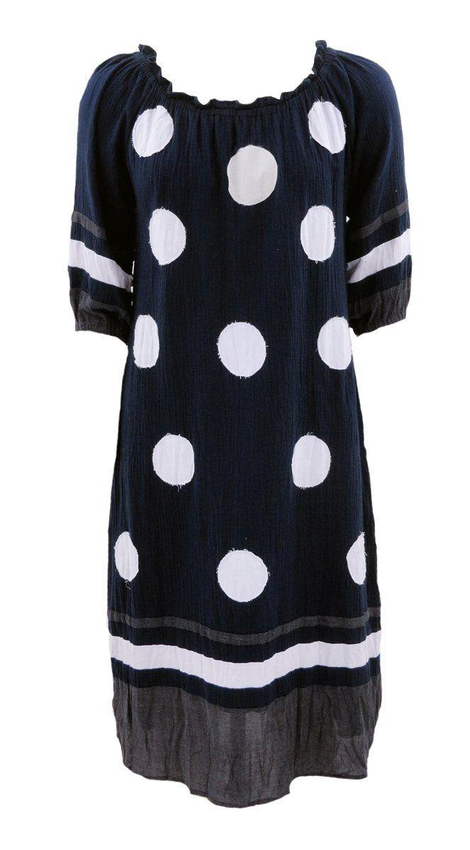 Cafe Latte - Applique Spot/Mesh Cotton Navy Dress - Clw871