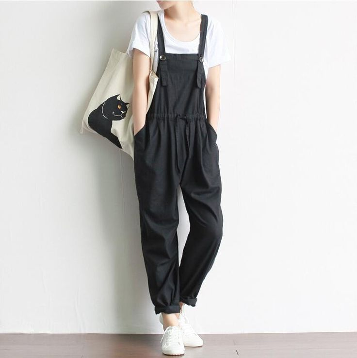 Women Vintage Retro Jumpsuit Casual Loose Cotton Linen Overalls Plus Size Drawstring Harem Pants Literature and Art Mori Girl