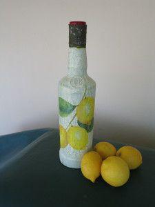 Bottle with lemon tree branch