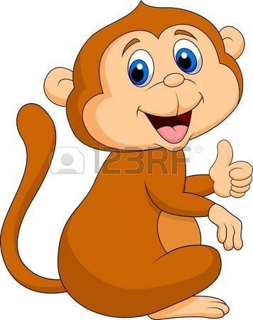 Cute dibujos animados mono pulgar arriba photo