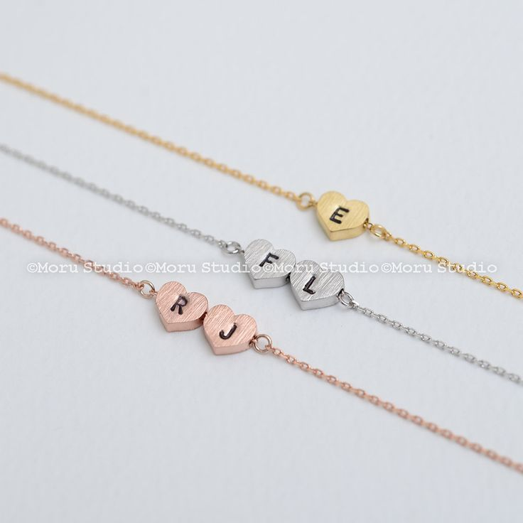 Initial Heart Necklace/ Bridesmaid Heart Necklace, Gold, Silver, Rose gold Heart, Shop Minimalist, Delicate Small Heart, Wedding Gift BCR117 by MoruStudio on Etsy
