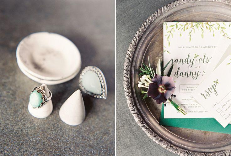 Casuarina Weddings  Organic wedding stationery, nature olive leaf invitations. Stationery: September Creative Rings: Samantha Wills Bridal Styling: Little Gray Station