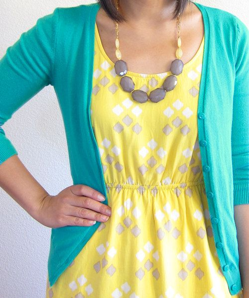 Yellow Grey colorblock necklace come with sterling silver plated textured chain  *NOTE: the model is wearing oval shape yellow beads. The