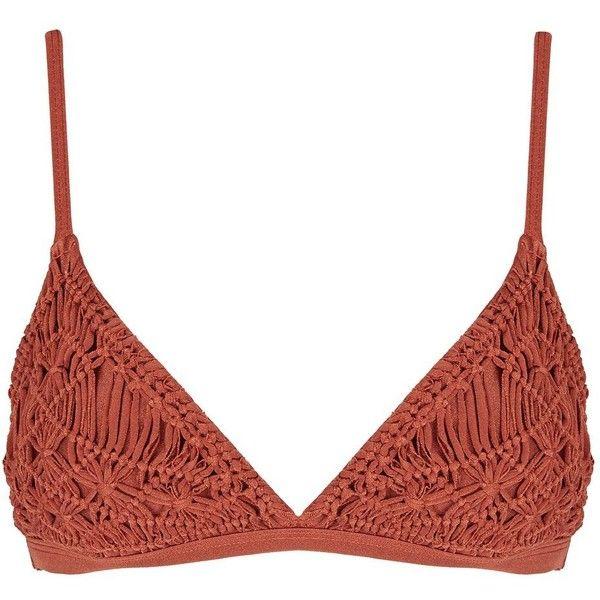 Eloisa Crochet Bikini Top by Flook (93 CAD) ❤ liked on Polyvore featuring swimwear, bikinis, bikini tops, bikini, swimsuits, rust, crochet bathing suits, swimsuit tops, crochet bikini swimsuit and bathing suits bikini