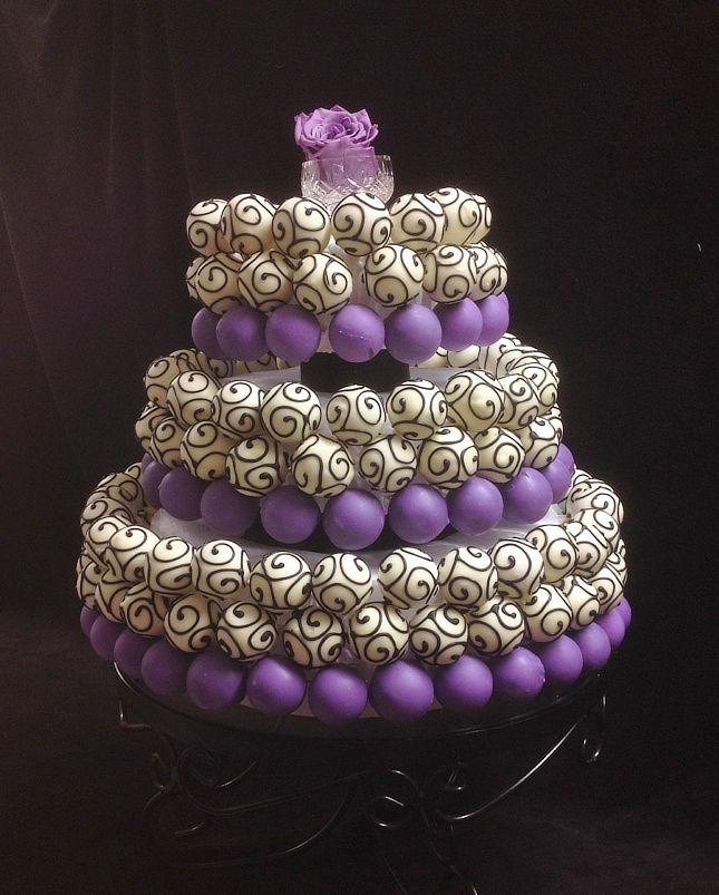 Purple, Black & White popcakes