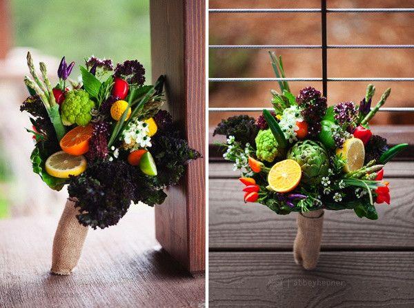Fruit and Vegetable Rustic Burlap Wedding Bridal Bouquet