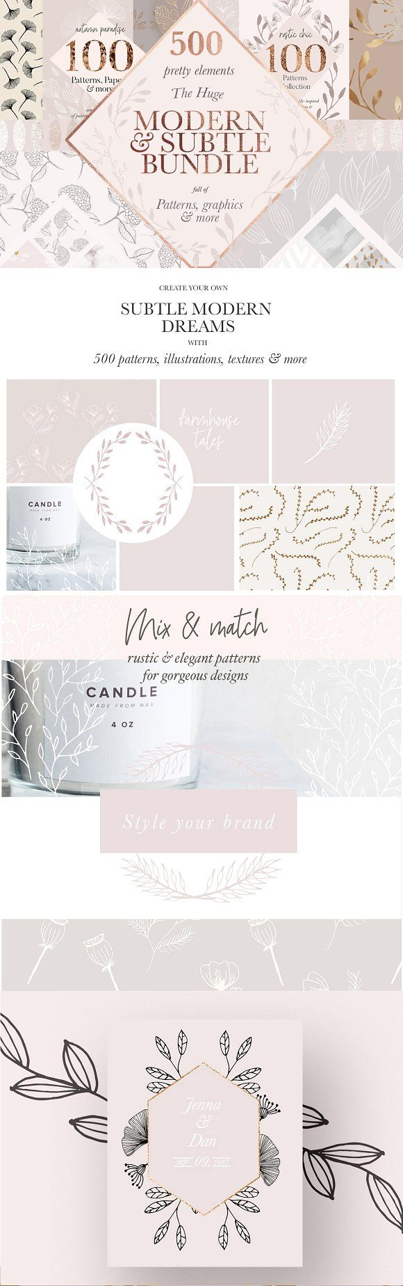 Modern &Subtle Floral Pattern Bundle. I bundled up all of my bestselling subtle & modern collections to offer you a huge variety of different and versatile designs for your upcoming projects. Grab a total of 4 big collections for an amazing discount of 60% off the original price - that makes more than 500 files, including patterns, logos, backgrounds and illustrations! Make sure to grab yourself a tall latte and scroll your way through all the different pictures and collections to see what's ins