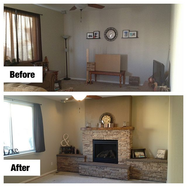 Our new dyi fireplace we love it heat 39 n glo 750tr for Fireplace renovations before and after