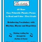Phonics Advantage 40 More Easy Printable Poems are written at the first grade reading level.  Poems for teaching phonics bring fun to the study of ...