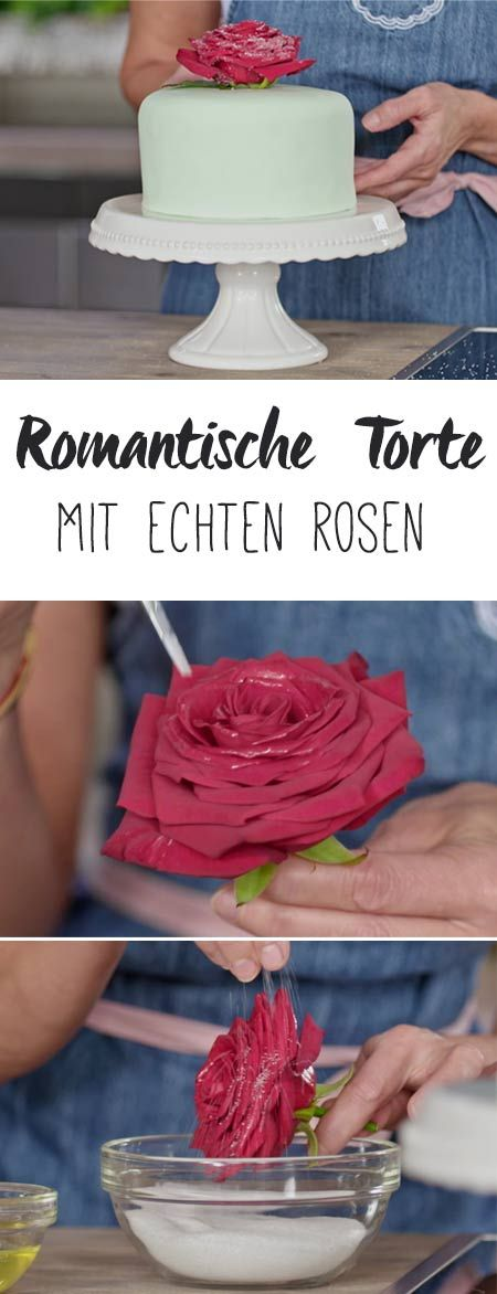 Soo romantisch: Tortendeko aus echten Rosen.