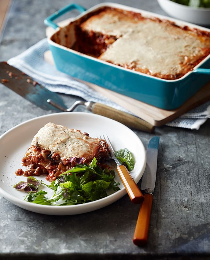 Lamb Moussaka with cauliflower white sauce - Pete Evans