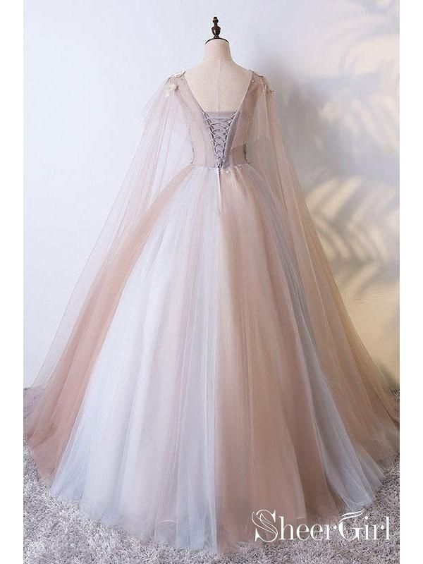 015cd1a9679 A Line Tulle Khaki Embroidery Appliqued Prom Dresses Cape Sleeve Evening  Ball Gowns ARD1028-SheerGirl