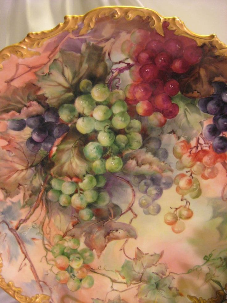 "Breathtaking Antique Limoges France Hand Painted Still Life Masterpiece Luscious Grapes 15 5/8"" Wall Plaque Charger Highly Collectible China Painting Artwork Heirloom Treasure Circa 1900"