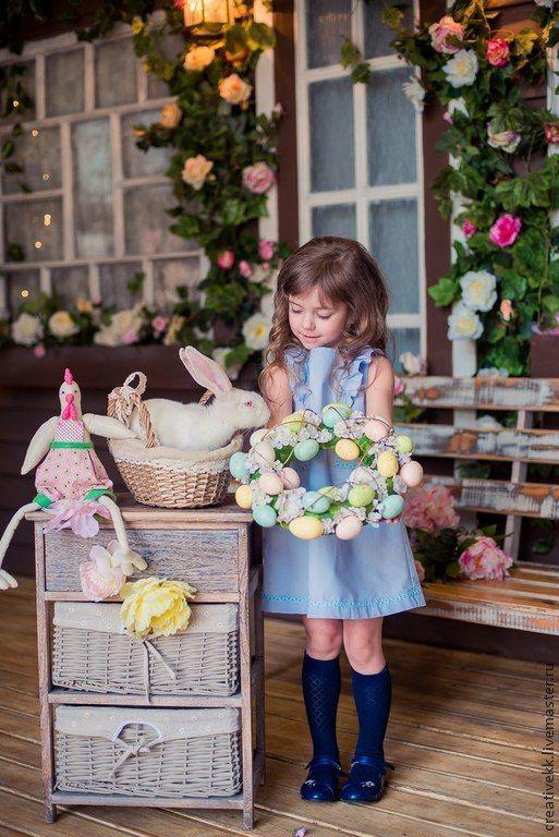 Купить Платье для девочки. - синий, однотонный, красивое детское платье, Платье нарядное, детская мода
