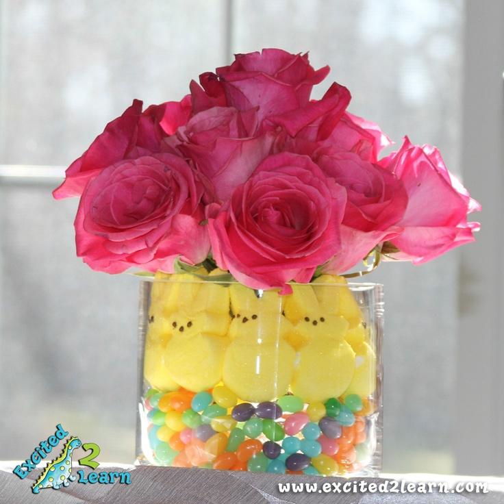 super easy, super cute centerpiece #EasterHoliday Ideas, Easter Centerpieces, Peep Ideas, Shower Centerpieces, Peep Centerpieces, Super Easy, Parties Ideas, Super Cute, Holiday Decor