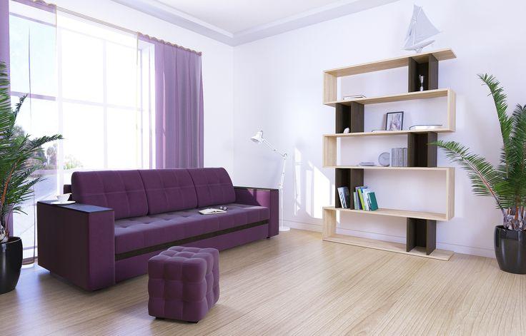 """Диван-кровать прямой АТЛАНТА, экокожа Tresor Viola (фиолетовый) Недорогой, красивый, стильный, компактный, вместительный диван с  деревянными подлокотниками и механизм «еврокнижка», прекрасное решение для гостиных комнат. Модель обладает высочайшим комфортом посадки и спального места при компактных размерах в разложенном варианте. В положении """"кровать"""", диван имеет заднюю планку, которая отделяет спальное место от стены. Накладка на подлокотнике выполнена из материала МДФ."""
