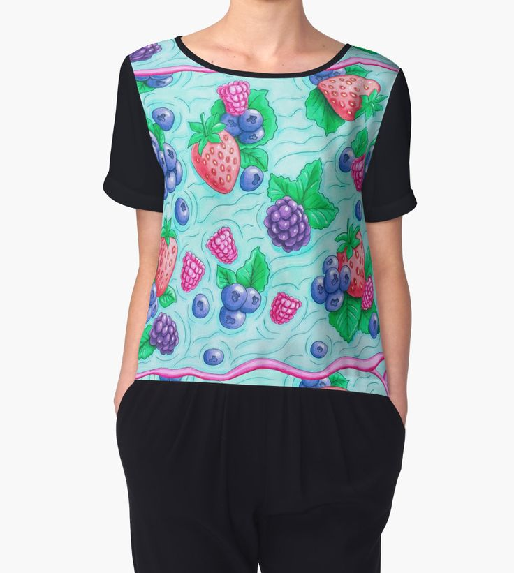 """""""Barries with leaves on water. Colorful doodle. """" Chiffon Tops by Maria-So 