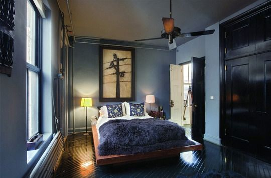 Dark, serene. (Roman & Williams bedroom) -Robin Standefer and Stephen Alesch (the married duo also known as Roman and Williams) have left their signature all over the moody blue bedroom of their super-skinny NoHo loft.