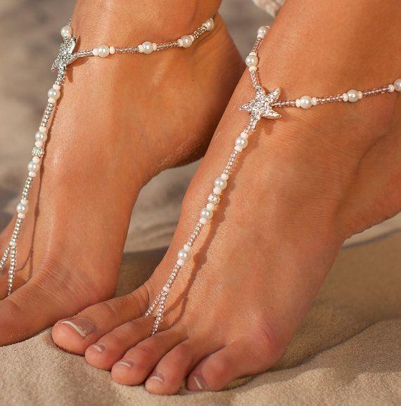Starfish barefoot sandals bruids voet juwelen Beaded strand