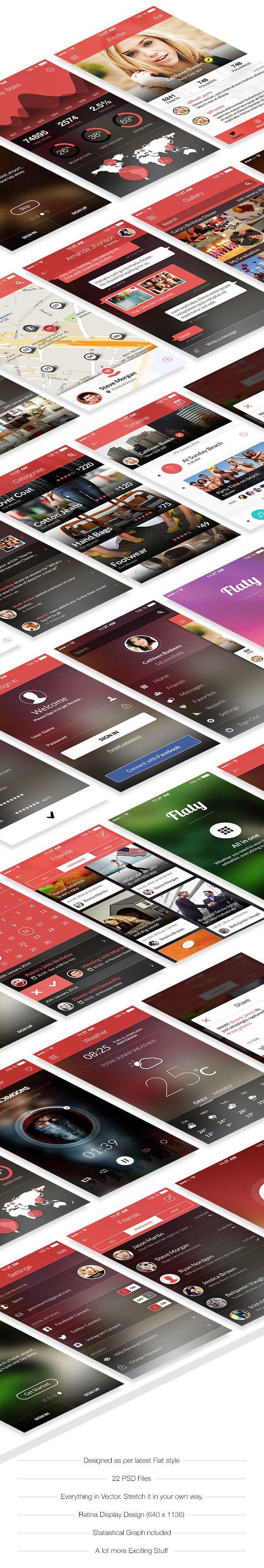 Flaty - A Beautiful Mobile Ui by Bouncy Studio, via Behance