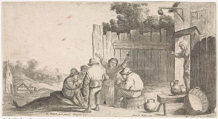 Anonymous | Vijf boeren rond een ton, Anonymous, Frans van den Wijngaerde, unknown, 1636 - 1679 | Vijf boeren verzameld rond een ton. Uit de poort rechts komt een vrouw lopen.