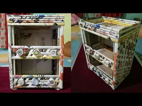 How to make a stationary / Desk Organizer using cardboard and news paper ( Magazine ) - YouTube