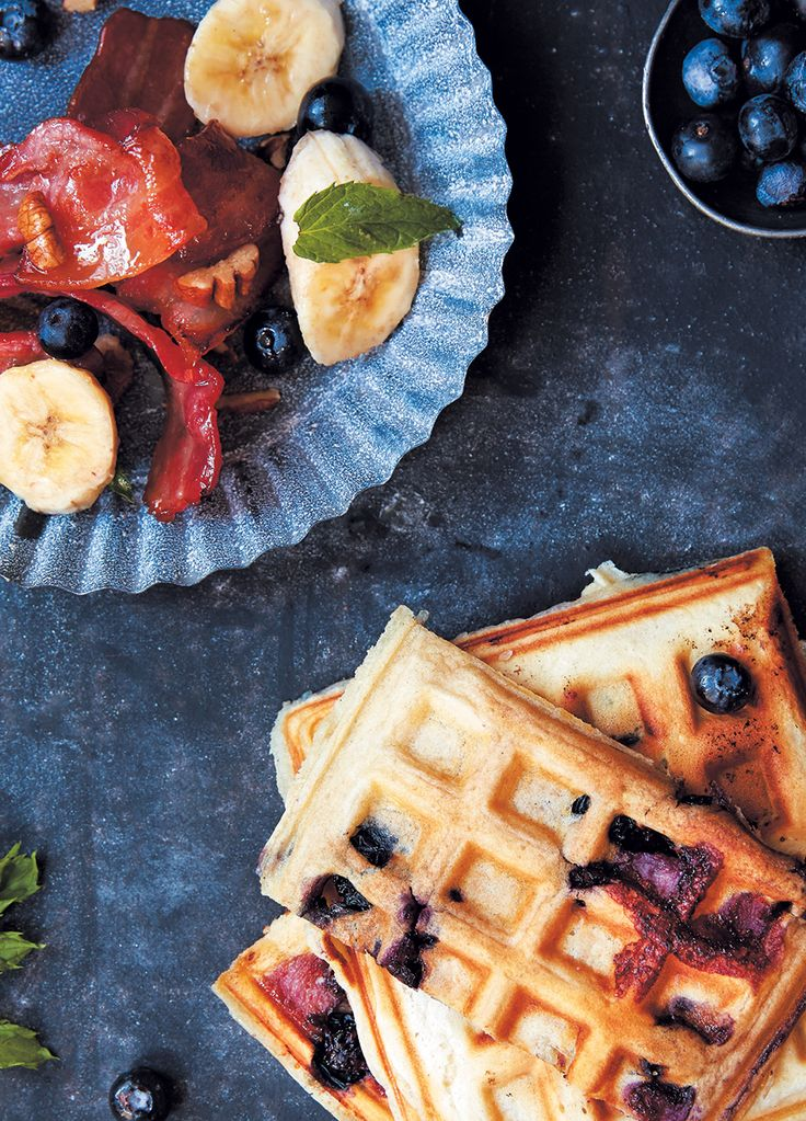 Blueberry waffles with banana and maple bacon