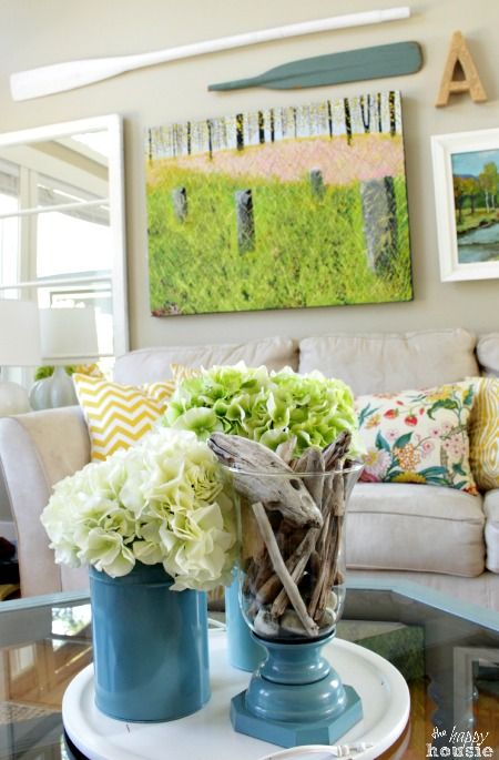 Beachy Style Summer Lake House Tour at The Happy Housie living room 8