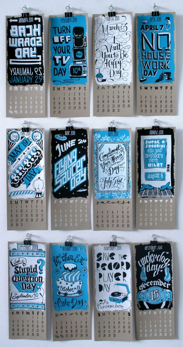 2011 Calendar of Silly Holidays by Annica Lydenberg, via Behance