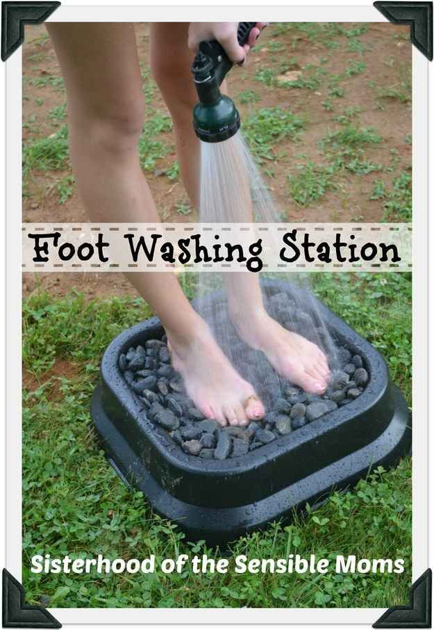 Stop your kids from trailing dirt into the house with this foot washing station.