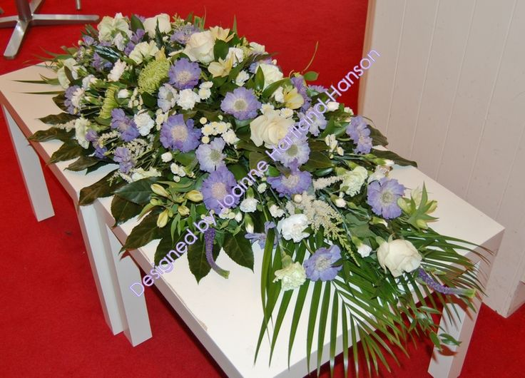 Pale Blue and White Coffin Spray
