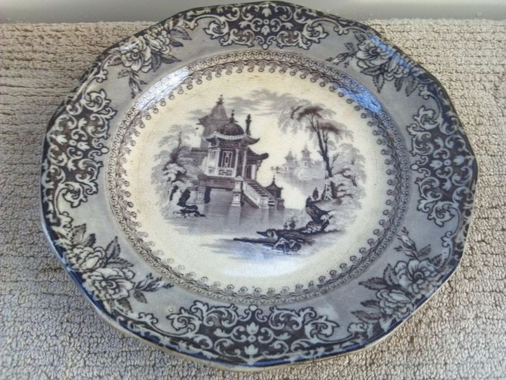 "J. Clementson (1839-1864) ""Corea"" Flow Black Mulberry Plate.  9-1/4""  