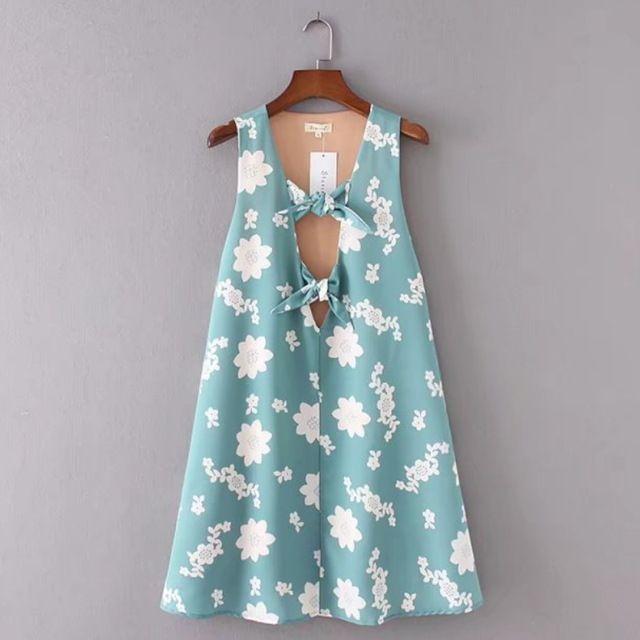 2017 мода женщины цветочный печати v-образным вырезом галстук-бабочку мини платья летние стиль случайные свободные a-line dress женская одежда d883