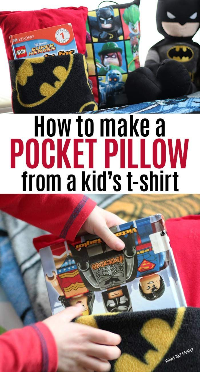 Make a super cute DIY pocket pillow from your kid's t-shirt! A fun way to upcycle kid's clothes and a perfect DIY reading pillow for kids. A really easy sewing project anyone can make and kids will love. It even has a handle to be a pillow tote too! #DIY #handmade #pillows #forkids