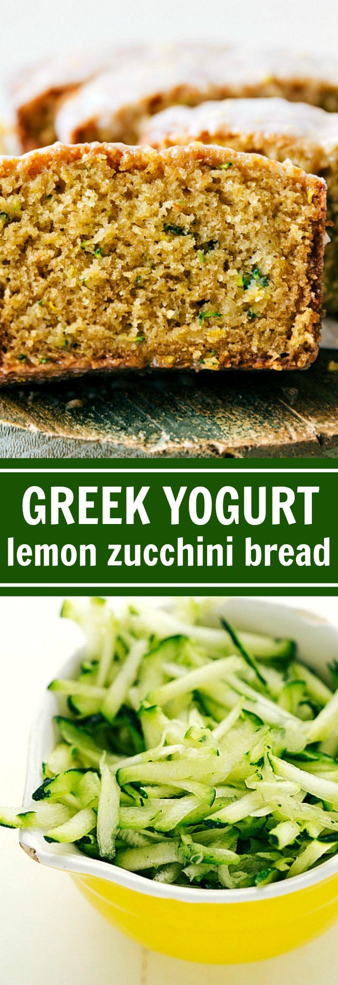 Healthier Lemon GREEK YOGURT Zucchini Bread. A delicious and healthier take on zucchini bread. This moist lemon zucchini bread has a slightly tart lemon flavor and a tangy lemon glaze. Recipe from chelseasmessyapron.com