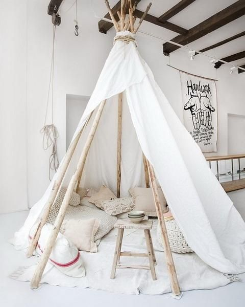 Wigwam Tents Blending Kids Playroom Ideas into Cozy Children Bedroom Decorating