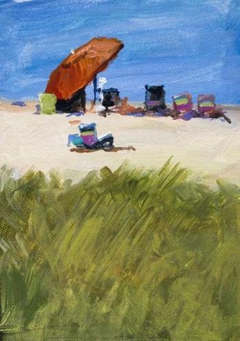 Seashore Umbrella 7 x 5 Acrylic Landscape Painting of Provincetown, painting by artist John K. Harrell
