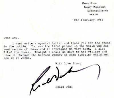 Roald Dahl's response to a 7 year old girl who send him a jar containing one of her dreams (oil, water & glitter)