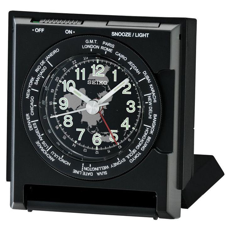 Seiko Travel Alarm Clock Black - QHE116KLH