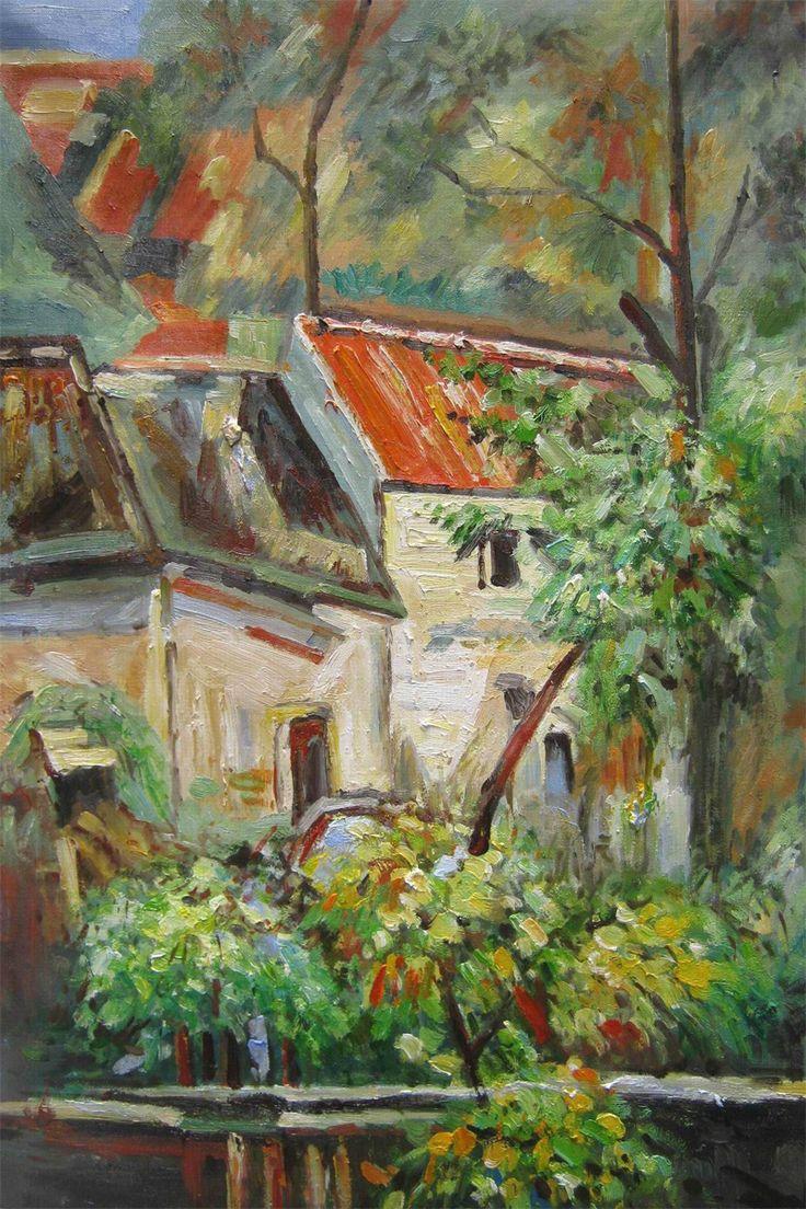 House of Père Lacroix, 1873 Paul Cezanne.  National Gallery of Art, Washington D.C.  https://www.artsy.net/artwork/paul-cezanne-house-of-pere-lacroix