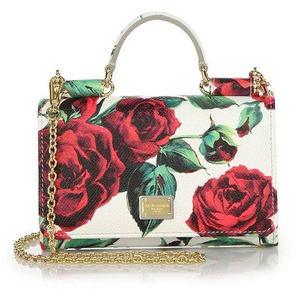 white, red and green sicily rose print leather handbag Dolce & Gabbana