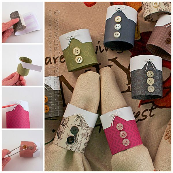 These Thanksgiving napkin rings are made to look like the outfits that pilgrims wore, but they aren't the kid's craft pilgrim napkin rings that you've seen around the Internet. These are fun for adults to make using pretty patterned scrapbook paper to add some color to your Thanksgiving table.